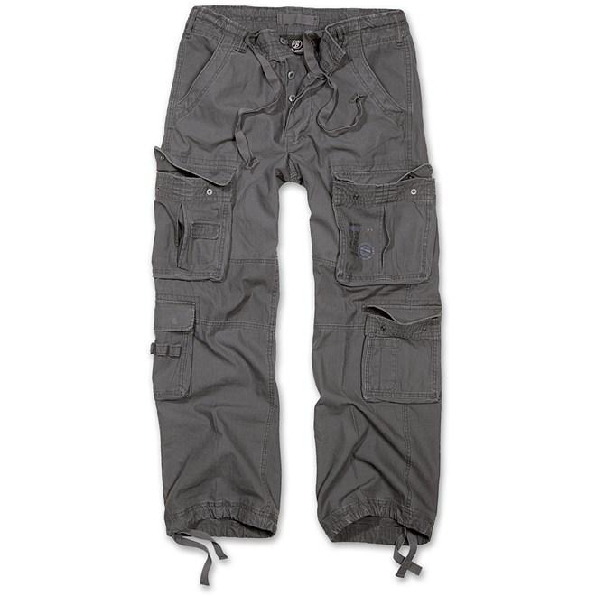 kalhoty,brandit pure vintage, antracit, detektory kovu zipsy, outdoor