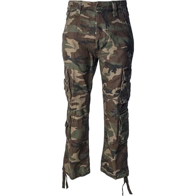 kalhoty brandit pure vintage, woodland, detektory kovu zipsy, outdoor